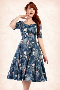Collectif Clothing Dolores Garden Hals Sleeve Blue Swing Dress 16114 20150624 1