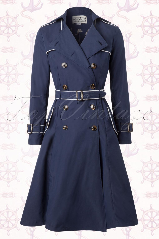 Marlene Maritime Swing Trench Coat In Navy