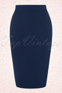 Collectif Clothing Polly Plain Blue Pencil Skirt 120 31 16178 1W