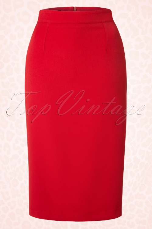 50s Jane Pencil Skirt in Red
