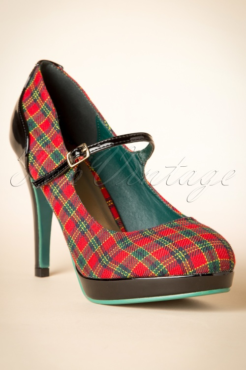 lower price with website for discount clearance prices 50s Dorothy Tartan Pumps in Red and Green