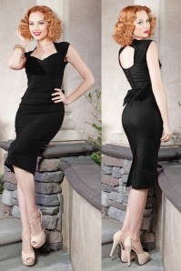 50s Love Bow Pencil Dress in Black