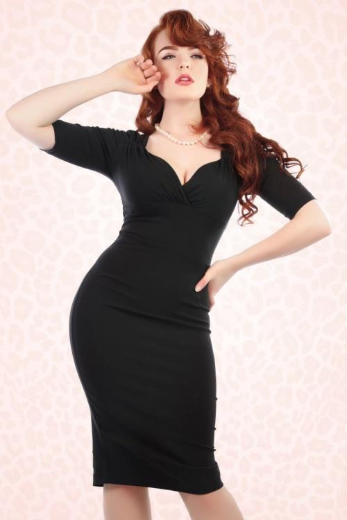 Collectif Clothing Trixie Black Pencil Dress 16111 1