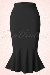 Collectif Clothing Winifred Black Fishtail Skirt 120 10 16181 20150624 0004W