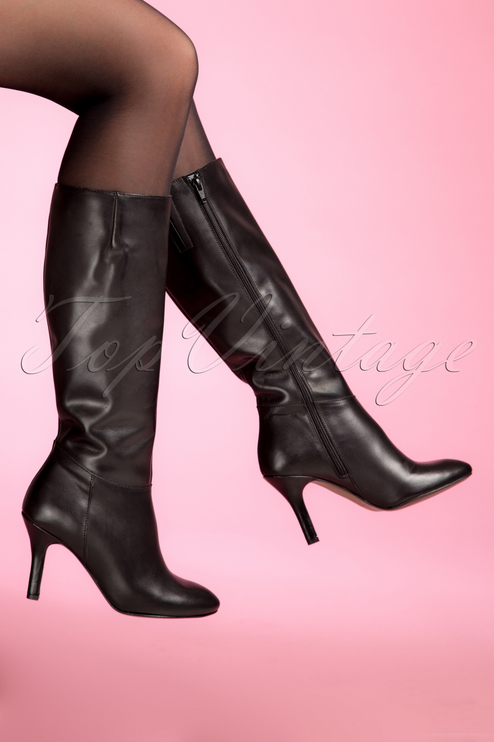 70s Lucy Leather Boots in Black