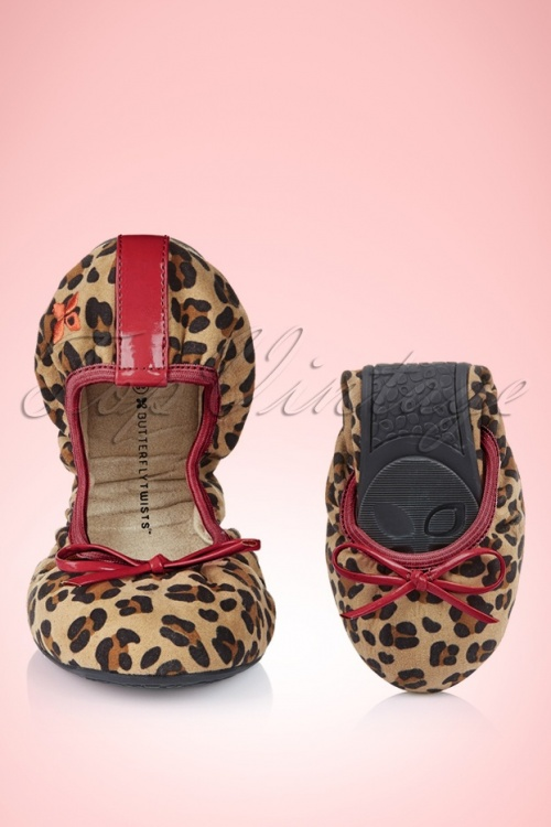 Foldable Ballerina Cleo Suede Leopard in Berry