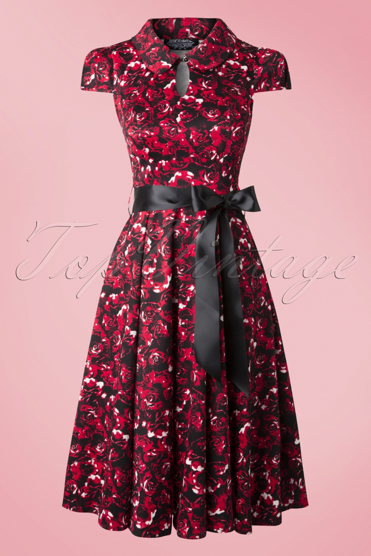 50s Louisa Rose Tea Dress In Black And Red