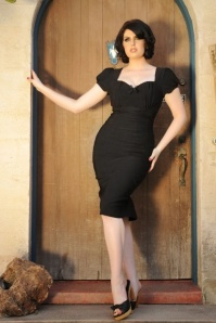 50s Mary Ann Pencil Dress in Black
