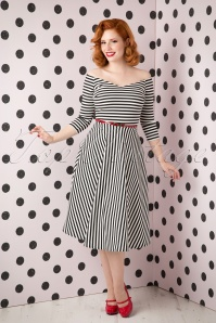 50s Alma Swing 3/4 Sleeve Dress with Black and White Stripes