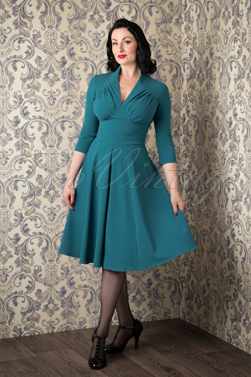 50s Vedette Turqouise Swing dress