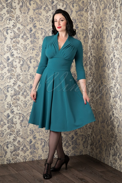 Miss Candyfloss Vedette Turqouise Swing dress 102 32 11561 20150925 0010W