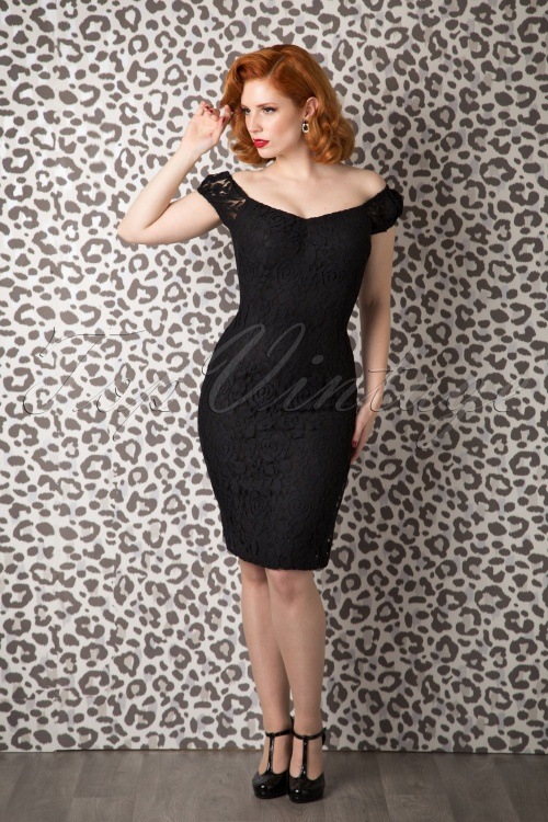 Collectif Clothing Dolores dress Lace black retro 100 10 10250 20150925 0009W