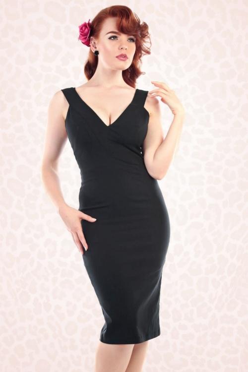 Collectif Clothing Mel Black Pencil Dress 16154 1