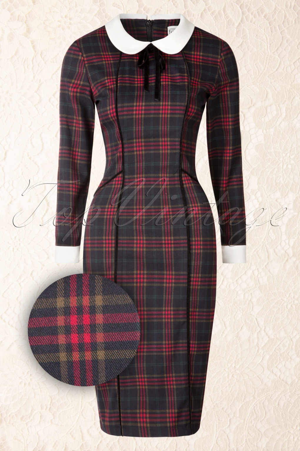 40s Lisa Hanna Check Pencil Dress in Navy and Red