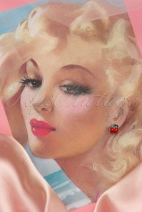Collectif Clothing Cherry Diamante Earrings Red Green 331 20 16218 20150928 0025