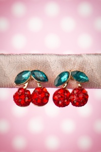 Collectif Clothing Cherry Diamante Earrings Red Green 331 20 16218 20150928 0004W