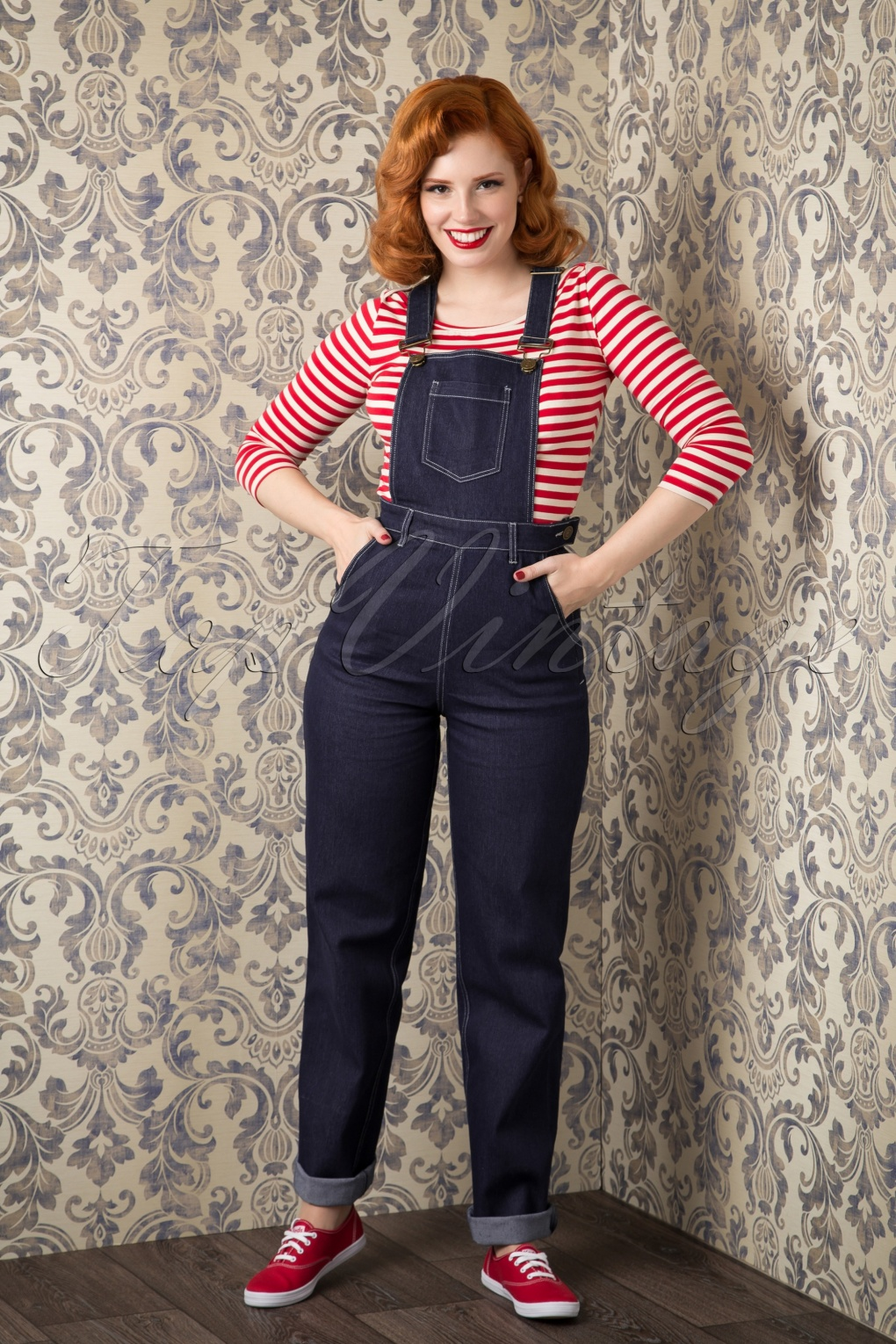 1940s Style Pants & Overalls- Wide Leg, High Waist 50s Pippa Denim Dungarees in Denim Blue £57.00 AT vintagedancer.com