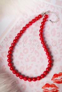 Ruby Pearl Necklace Années 50 en Rouge
