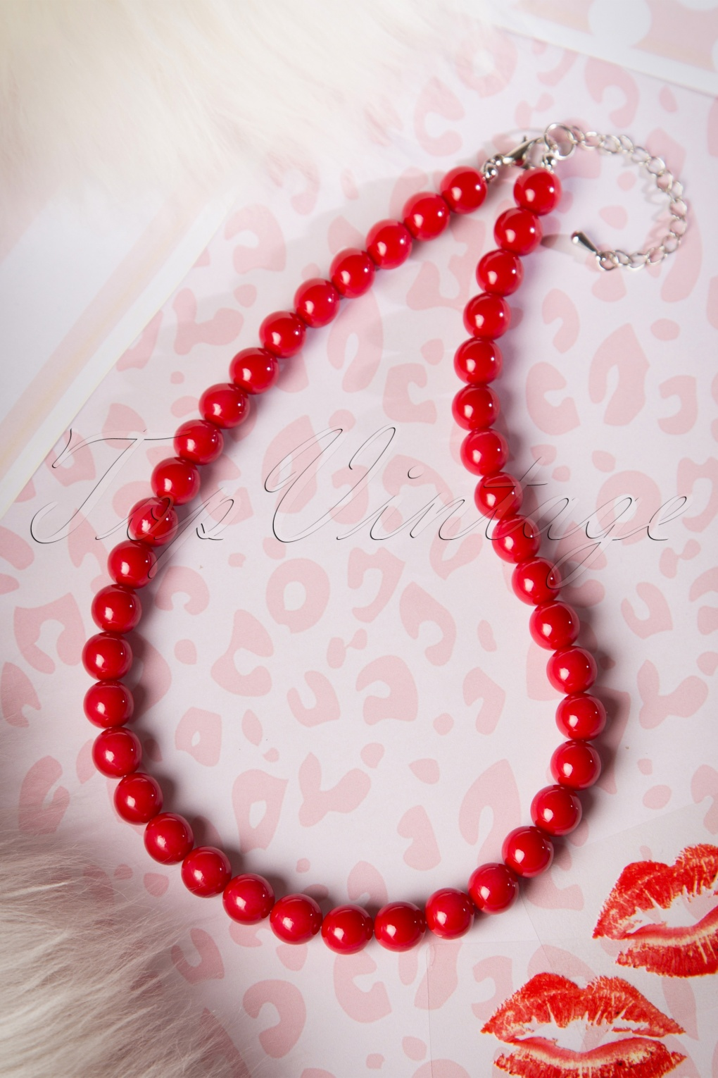 1950s Costume Jewelry 50s Ruby Pearl Necklace in Red £11.85 AT vintagedancer.com