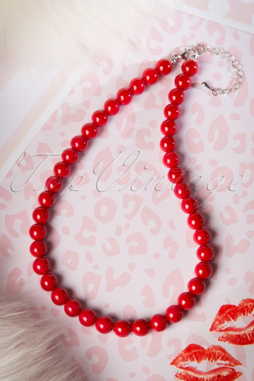 Collectif Clothing Coloured Bead Necklace Red 300 20 16220 20151001 10W