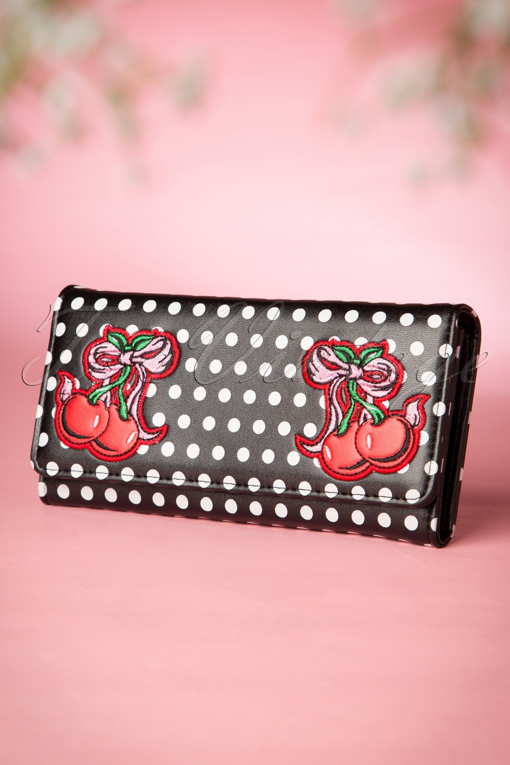 Retro Handbags, Purses, Wallets, Bags 50s Lucille Cherry Polka Purse in Black £23.56 AT vintagedancer.com