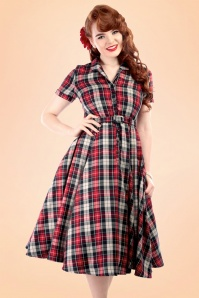 40s Caterina Sherwood Check Swing Dress in Red and Navy