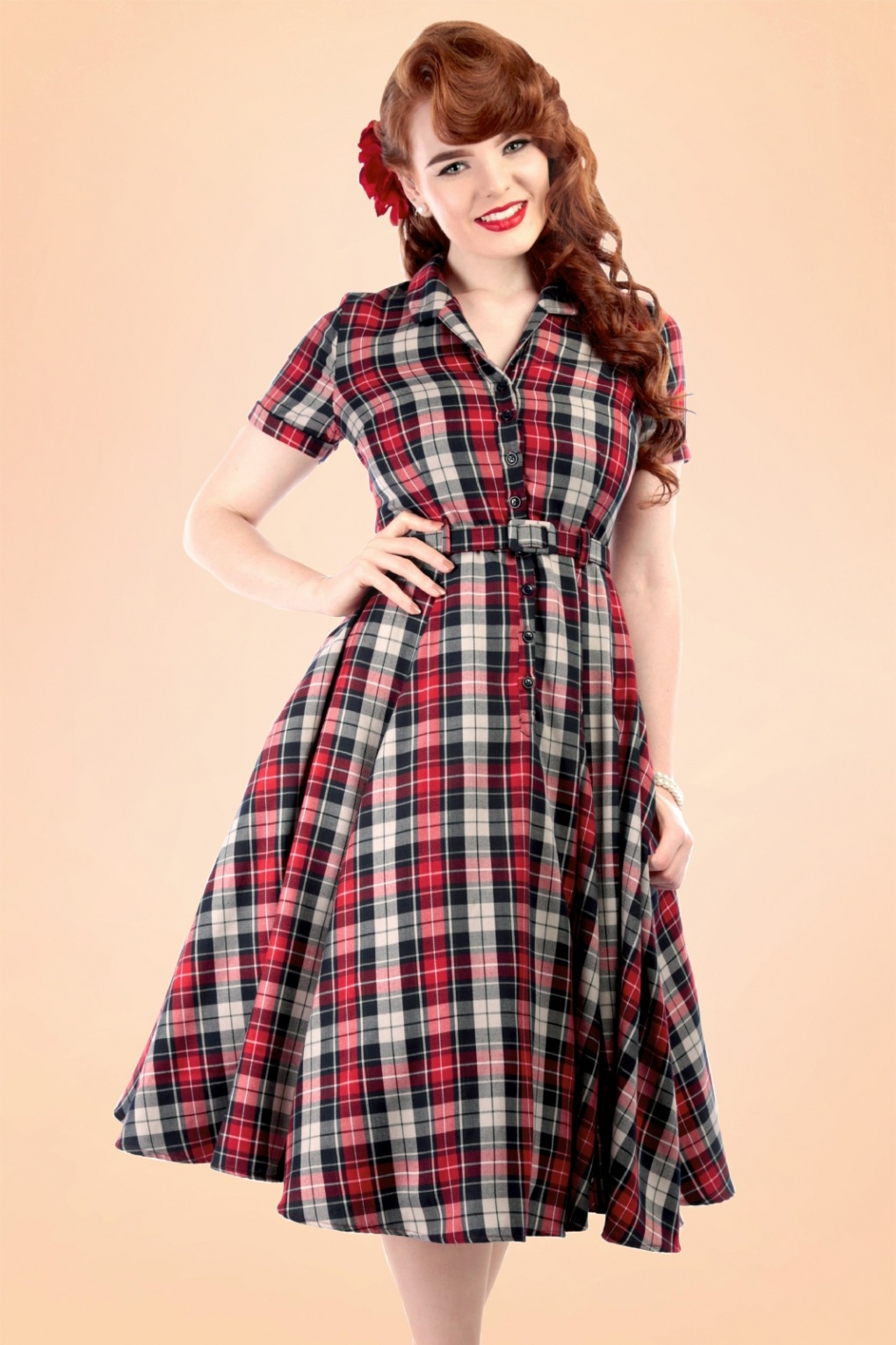 40s Padstow Birds Swing Dress In Navy: 40s Caterina Sherwood Check Swing Dress In Red And Navy