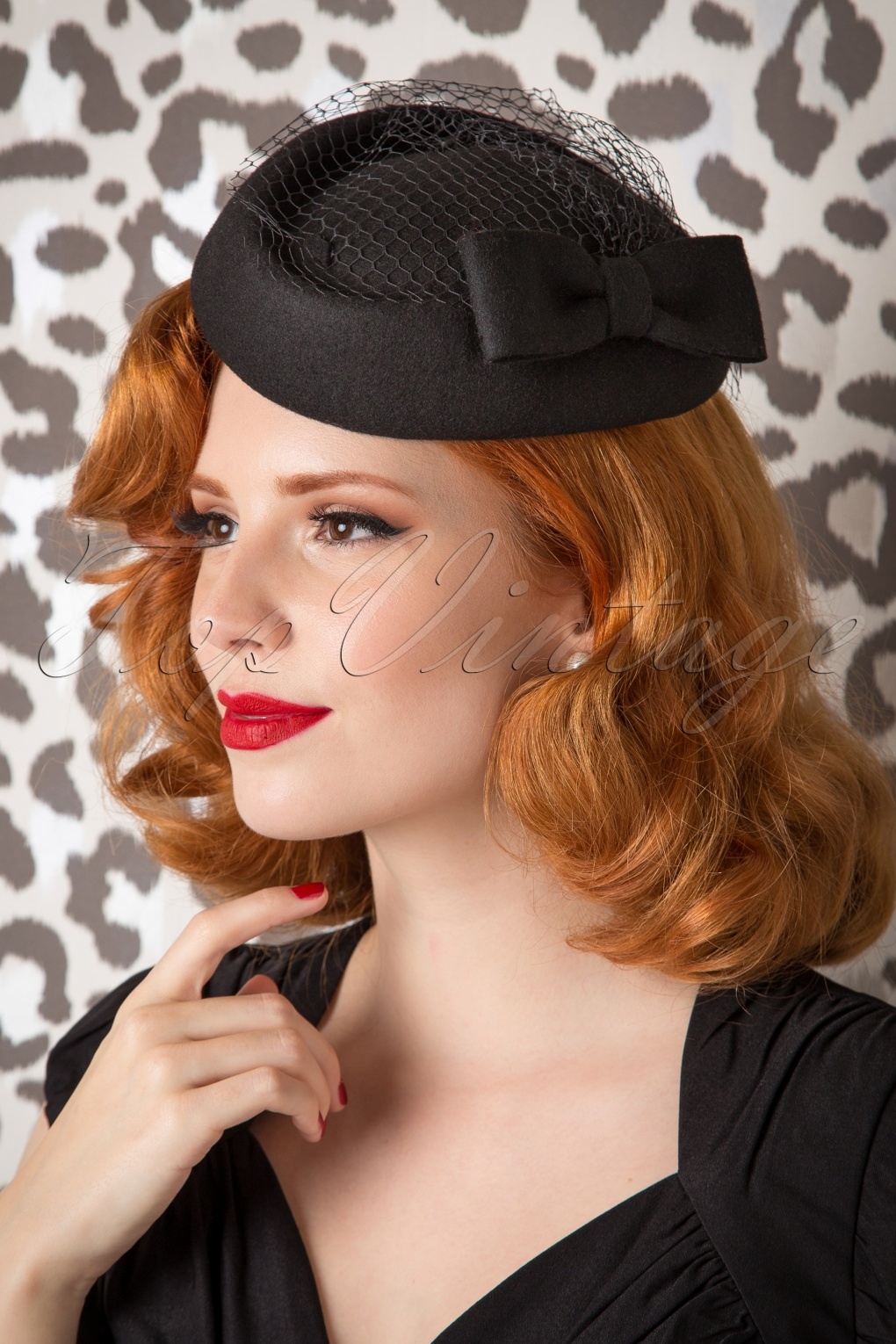 50s Lucy Bow Hat in Black Wool 2886afb17a7