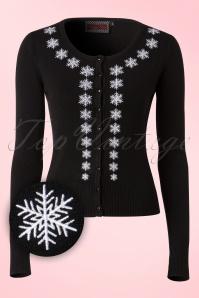 50s Tillie Snowflakes Cardigan in Black