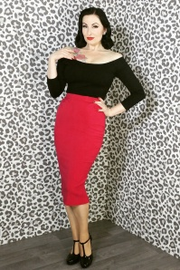 Miss Candyfloss Agnes Rose Red Pencil Skirt 120 20 14854 5