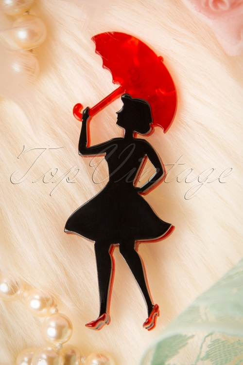 Erstwilder Lady with Red Umbrella Brooche 340 10 16977 20151005 08W