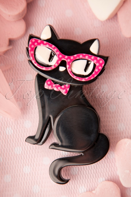 Erstwilder Black Cat with Glasses Brooche 340 10 16983 20151006 15W