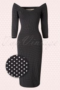 50s Morgana Polkadot Pencil Dress in Black