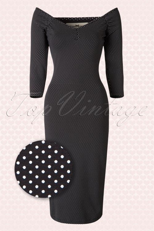 Collectif Clothing Morgana Black White Polkadot Pencil Dress 16166 20150624 0006WV