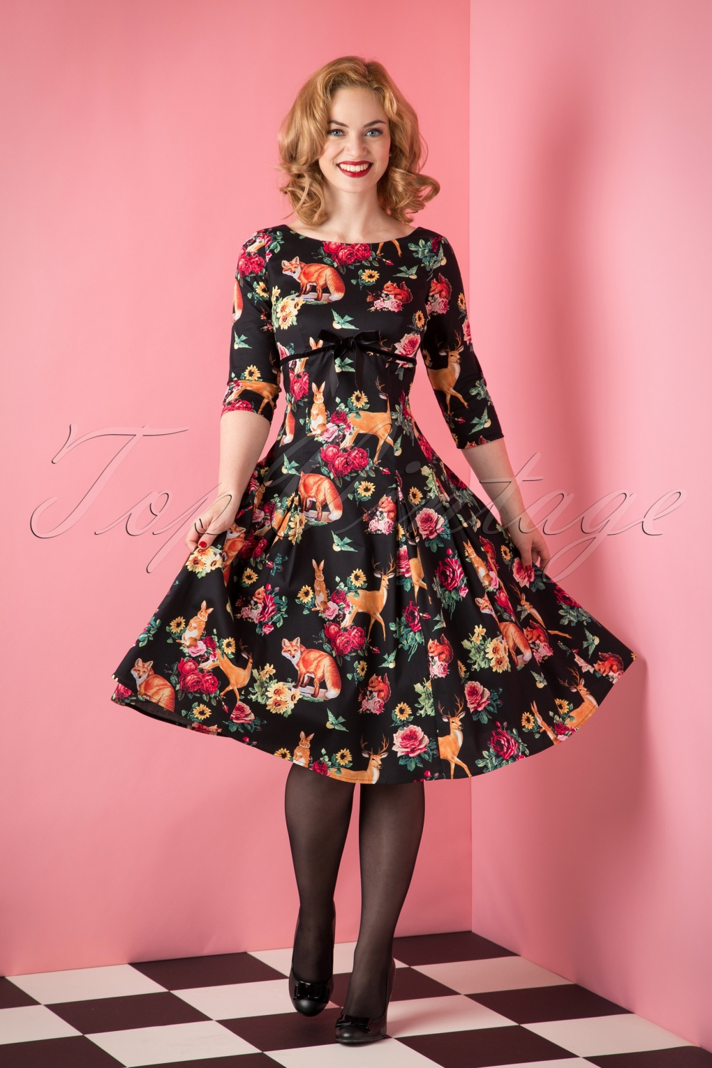 50s Hermeline Floral Swing Dress In Black