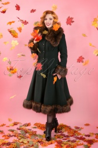 Collectif Clothing Pearl Coat Green 14396 1W