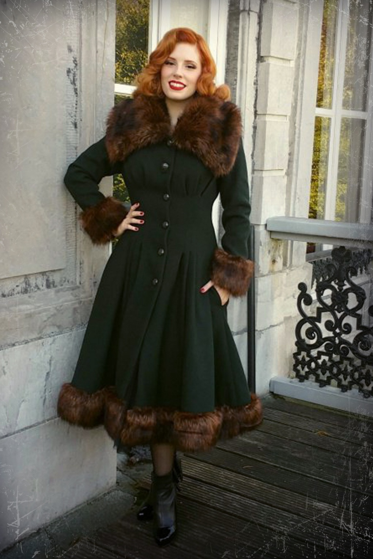Vintage Style Coats, Jackets, Faux Fur, Tweed 30s Pearl Coat in Dark Green £232.09 AT vintagedancer.com