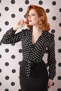 40s Clarice Short Polkadot Blouse in Black Crepe de Chine