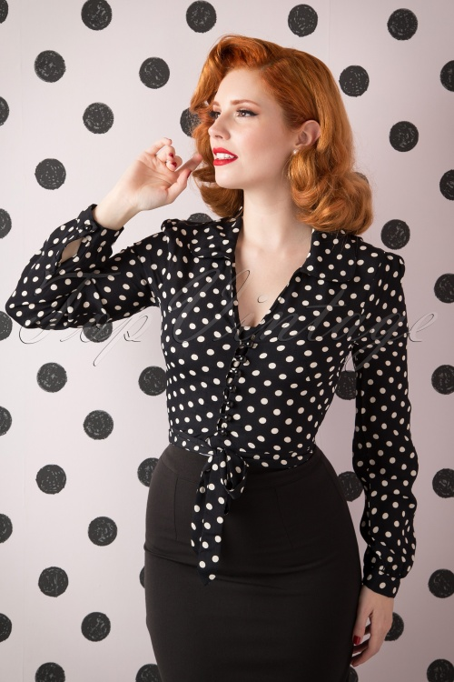 The Seamstress of Bloomsbury Clarice Short Polkadot Blouse Black Crepe de Chine 112 14 15118 20150925 0012W
