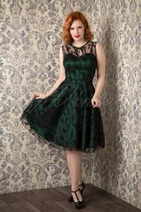 Vixen Classy Black Lace Satin Green Dress 102 49 11845 20150925 0016W