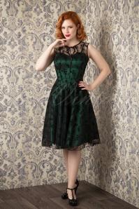 30s Classy Black Lace Satin Green Dress