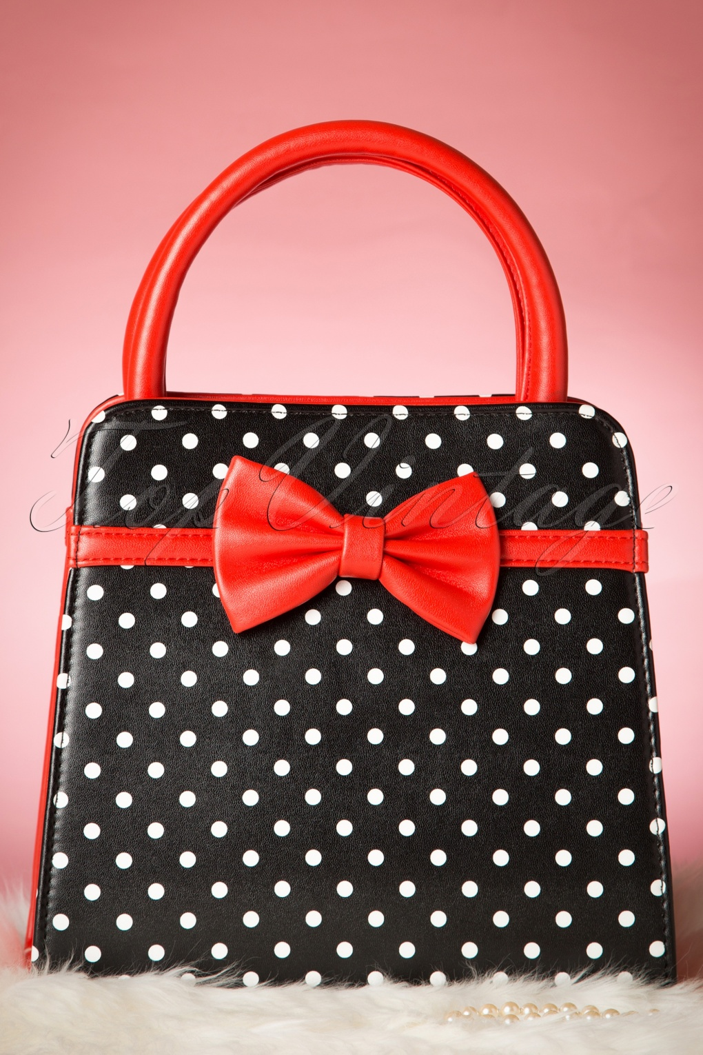 Retro Handbags, Purses, Wallets, Bags 50s Carla Polkadot Handbag in Black and Red £35.14 AT vintagedancer.com