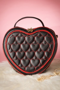 Love at First Sight Handbag Années 1940 en Noir et Rouge