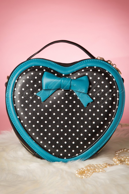 Banned Great Heights Heart Bag Blue Black 212 14 1640010132015 04W