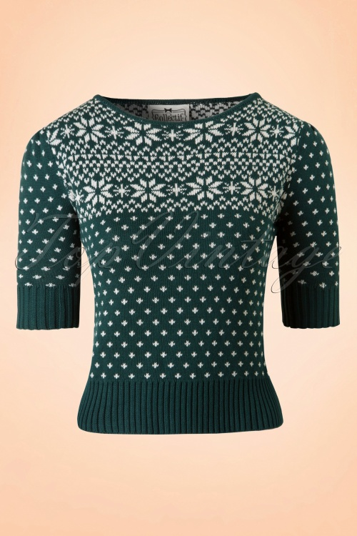 50s Chrissie Fair Isle Jumper in Green and Ivory