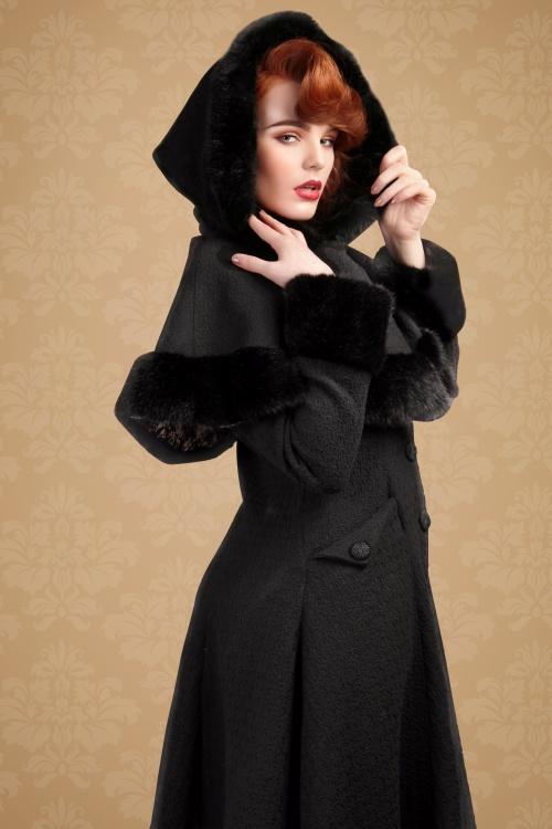 Collectif Clothing Anoushka Black Faux Fur Winter Coat 152 10 16231 20151012 6V