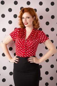 40s Paula Polkadot Blouse in Red and White
