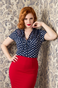 40s Paula Polkadot Blouse in Navy and Cream