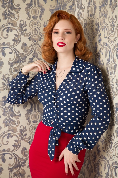 The Seamstress of Bloomsbury Clarice Short Polkadot Blouse Navy Crepe de Chine 112 39 15117 20150925 02