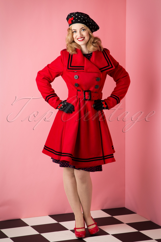 Retro Vintage Style Coats, Jackets, Fur Stoles 50s Millie Swing Winter Coat in Red £90.95 AT vintagedancer.com